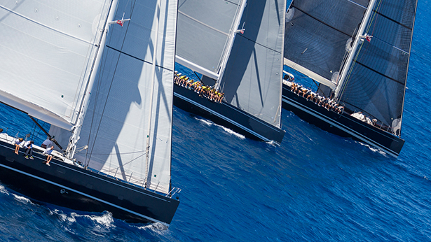 Cape Arrow, Freya and P2 yachts cross the finish line. Photo by Carlo Borlenghi