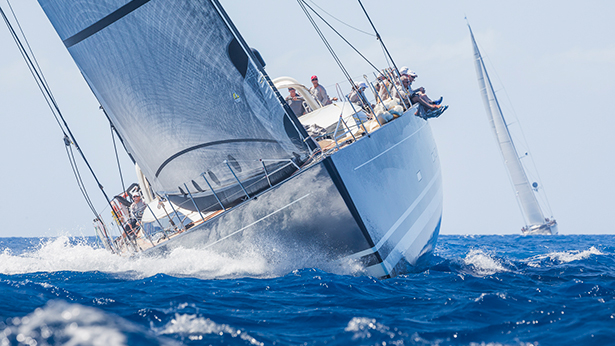Charter yacht P2 races hard on the final beat. Photo by Boat International and YCCS