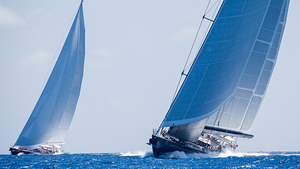 Close competition between Marie and Wisp yachts on Day One. Photo by Boat International and YCCS on Day One