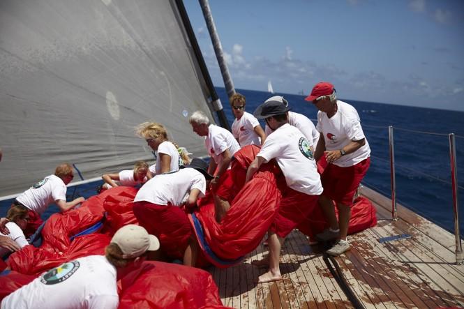 Crew aboard Perini Navi mega yacht SEAHAWK during the St. Barths Bucket Regatta