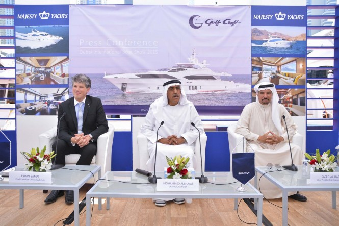 (From Left) Erwin Bamps, CEO of Gulf Craft; Mohammed Al Shaali, Chairman of Gulf Craft; Saeed Hareb, Vice President and Chairman of Dubai International Marine Club