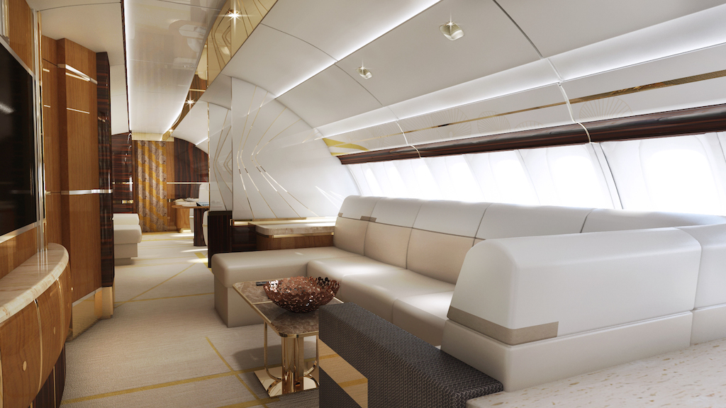 Greenpoint boeing 747 8 private jet airplane upperdeck for Boeing 747 8 interieur