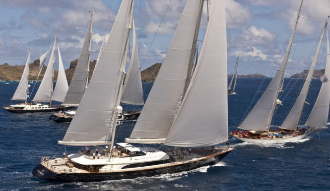 Luxury Superyachts participating in the St. Barths Bucket Regatta