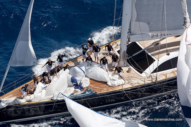 Luxury charter yacht Highland Breeze, teamwork on the bow, SYC Palma 2014