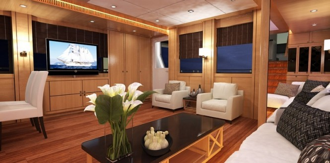 Luxury yacht Bering 77 design - Saloon