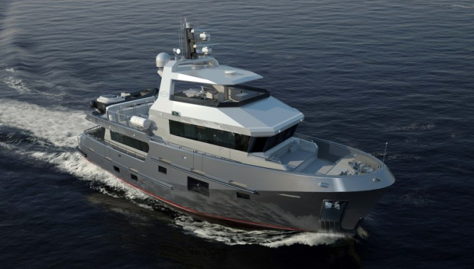 Luxury yacht Bering 77 design from above