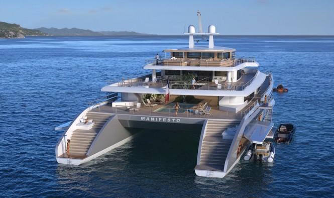 Luxury yacht Manifesto concept - aft view