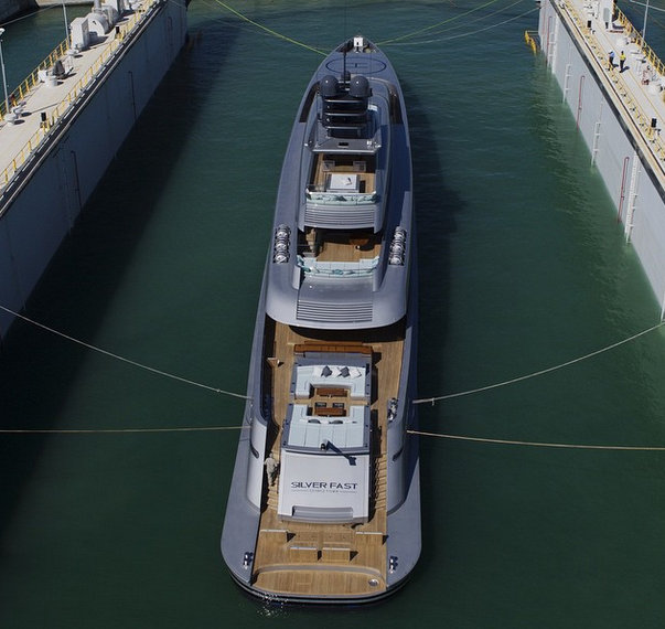 Luxury yacht Silver Fast - aft view - Photo by Guillaume Plisson and Silver Yachts