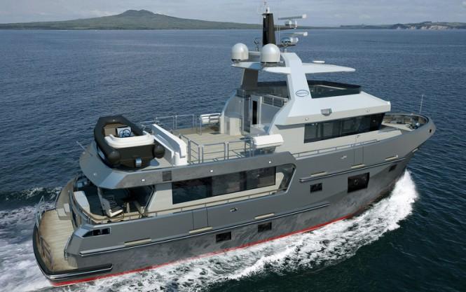 Motor yacht Bering 77 design - aft view