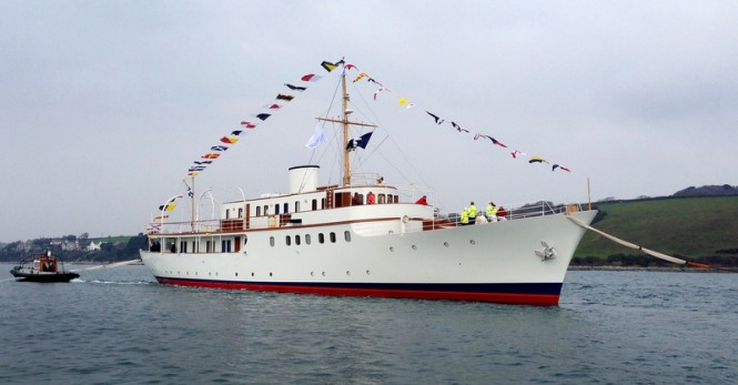 Re-launch of 50m classic motor yacht MALAHNE at Pendennis Shipyard in Falmouth, UK