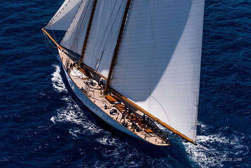 Sailing yacht Elena during the St. Barth's Bucket Regatta 2015 - Image by Cory Silken