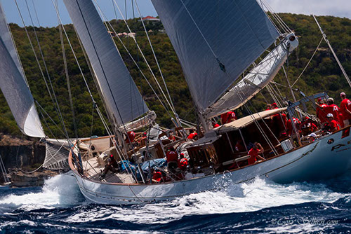 Superyacht Adela sailing at the 2015 St. Barths Bucket - Photo by Cory Silken