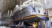 Superyacht Black Pearl being rolled out for launching by Oceania Marine - Image credit to Oceania Marine