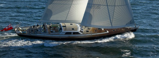 The 116-foot sloop Whisper is available for charter in New England this summer.  (Photo Courtesy of Whisper)