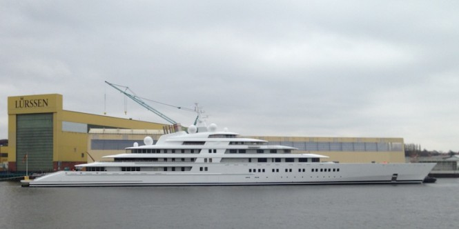 The world's largest 180m mega yacht Azzam at Lurssen - Photo by Klaus Jordan