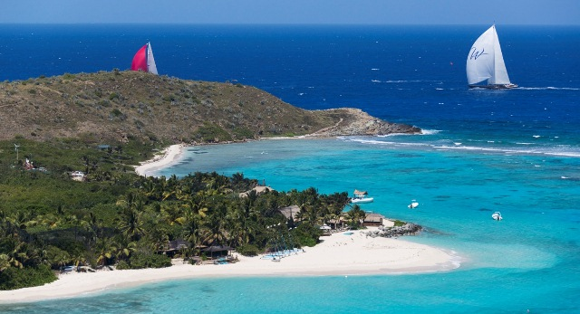Wisp Yacht chases Blues past Necker Island. Photo by Carlo Borlenghi