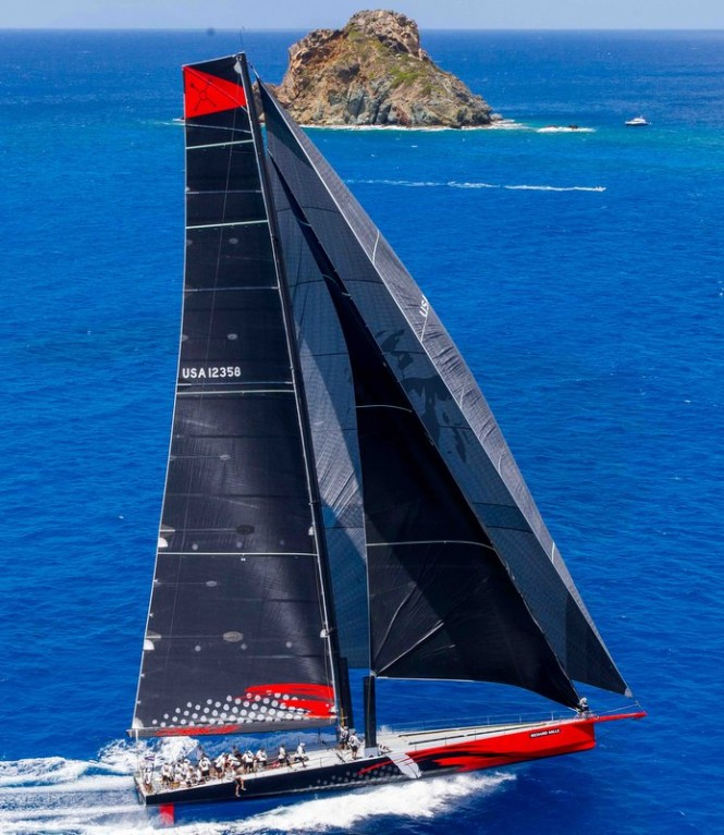 100ft superyacht Comanche at Les Voiles de St. Barth 2015 - Photo by Christophe Jouany