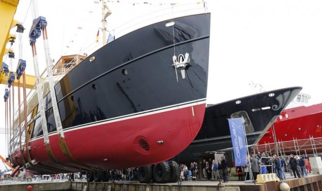 38m classic yacht TARANSAY (FR029) ready to hit the water at Rossinavi in Viareggio, Italy