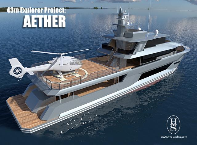 43m super yacht Aether design