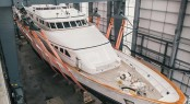 46m Feadship charter yacht Constance (ex Jana) under refit at Pendennis