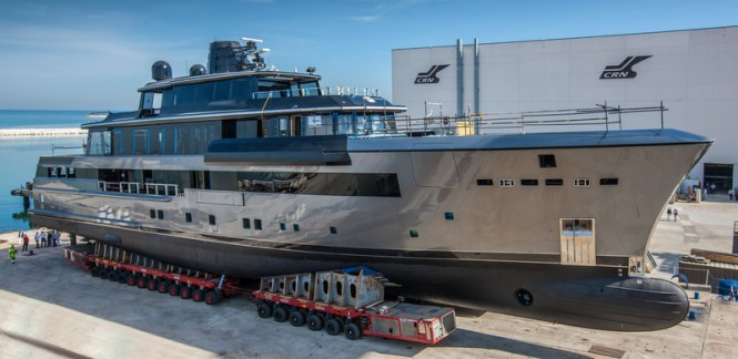 55m superyacht CRN 134 on the slipway ready to be launched