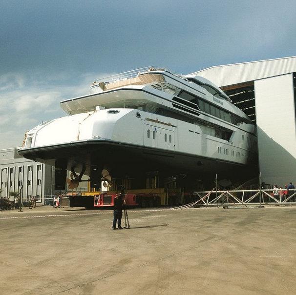 63m Superyacht IRIMARI (hull 632) being prepared for launch at Sunrise Yachts - Image credit to Sunrise Yachts