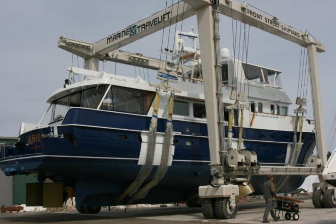 90' Palmer Johnson Yacht ASHA under refit at Front Street Shipyard