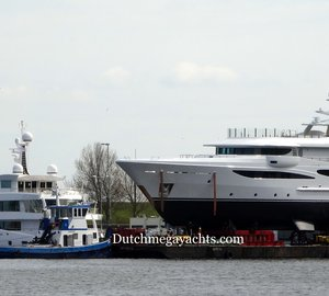 New AMELS LE180 Motor Yacht Hull 468 spotted in Vlissingen, the Netherlands