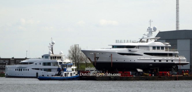 Amels superyacht Madame Kate and the just rolled out Hull 468 - Photo by Dutchmegayachts