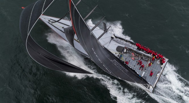 Comanche yacht at full speed from above - Photo by Onne van der Wal
