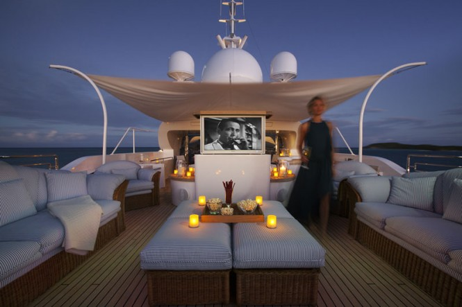 Hot tub and outdoor cinema - Photo credit to charter yacht STARFIRE