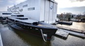 Launch of luxury yacht Kiss (hull 689) at Feadship