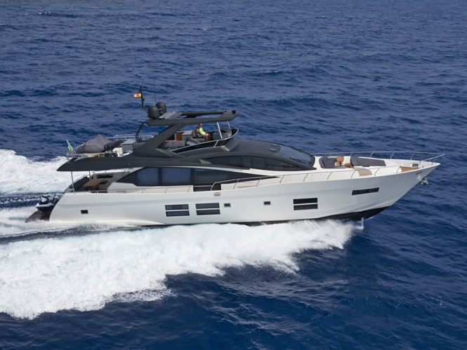 Luxury motor yacht Astondoa 80 GLX at full speed