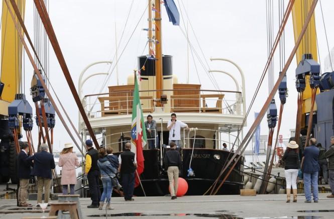 Luxury motor yacht TARANSAY on the water