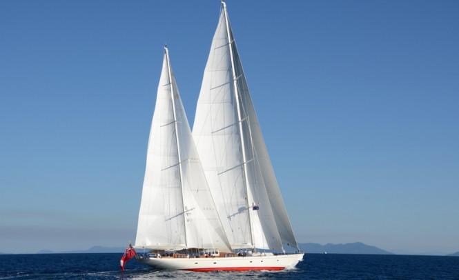 Luxury yacht Adele under sail - Photo by Adele crew