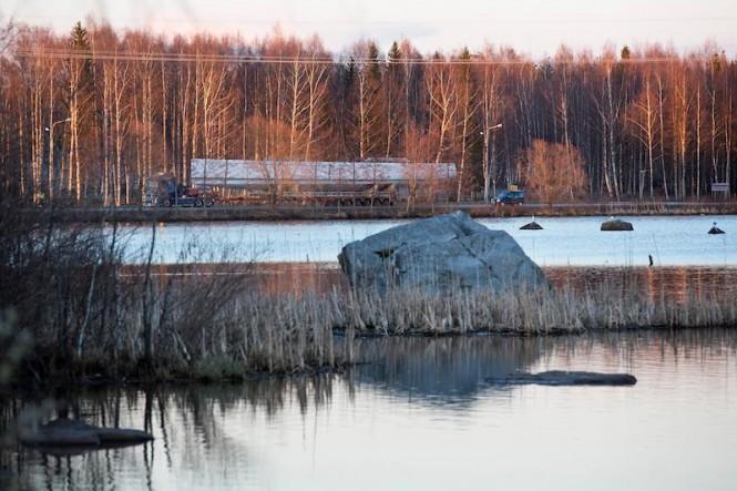Luxury yacht Swan 115 being transported - Photo by Karolina Isaksson, Bildbolaget Du & Vi.