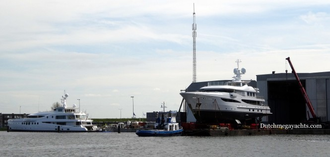 Madame Kate Yacht and Amels superyacht Hull 468 - Photo by Dutchmegayachts