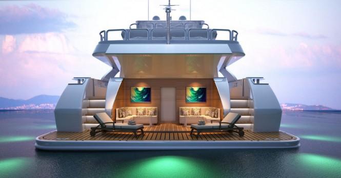 Majesty 155 Yacht - Aft Beach Club