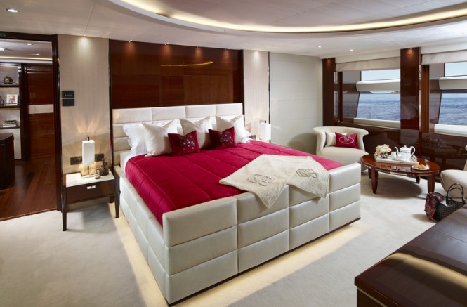 Super yacht X5 - Master Stateroom - Image credit to Princess Yachts International plc