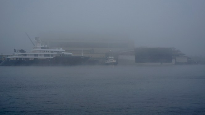 Superyacht JUPITER project spotted alongside the 90m motor yacht ICE - Photo by DrDuu