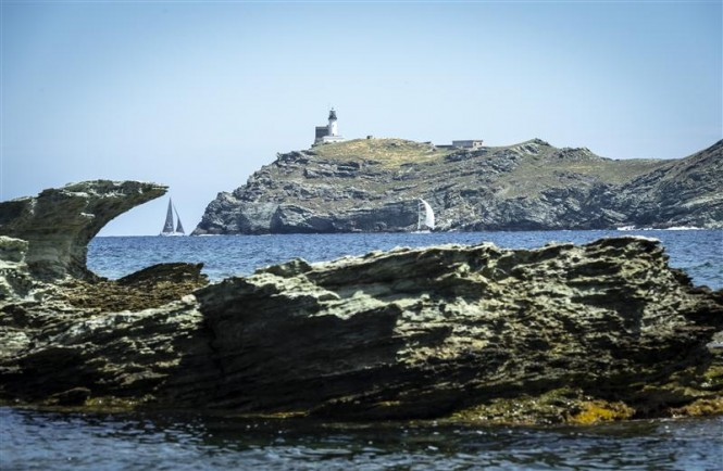 The Giraglia rock - the symbol of the 248-nm race - Photo by Rolex Kurt Arrigo