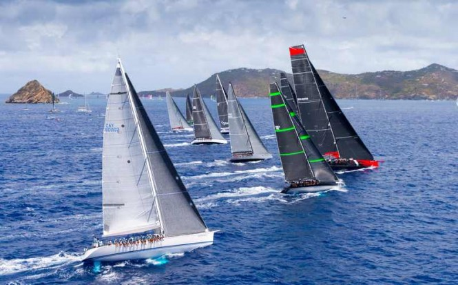 The fleet of luxury sailing yachts at Les Voiles de St. Barth 2015 - Photo by Christophe Jouany
