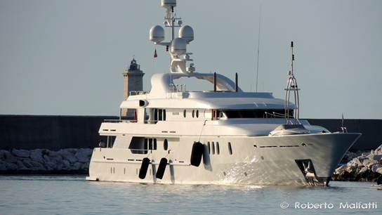 52m AMELS Yacht SEAHORSE (ex Tigre D'Or) leaving Benetti in Livorno, Italy - Photo by Roberto Malfatti