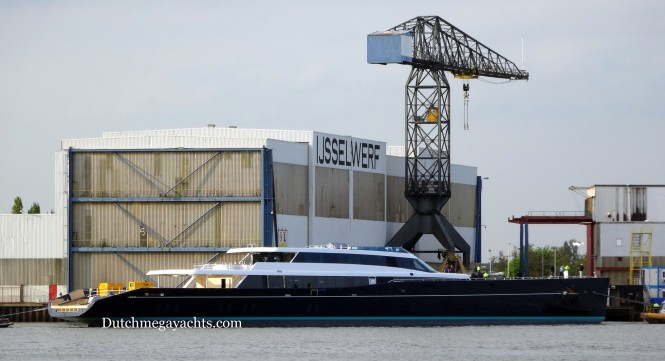 85m superyacht AQUIJO at the IJsselwerf, Zwijnenburg - Photo by Dutchmegayachts