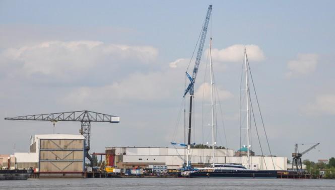 86m Oceanco and Vitters Superyacht AQUIJO with masts stepped - Photo by Jan van Heteren