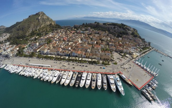 Aerial view of the Mediterranean Yacht Show 2015