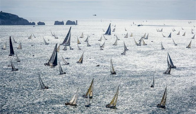 An impressive sight as The Rolex Fastnet Race fleet heads out of the Solent in the last race © Rolex Kurt Arrigo