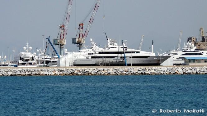Benetti shipyard in Livorno, Italy