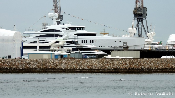 FB265 superyacht Romantic at the Benetti shipyard in Livorno, Italy - Photo by Roberto Malfatti
