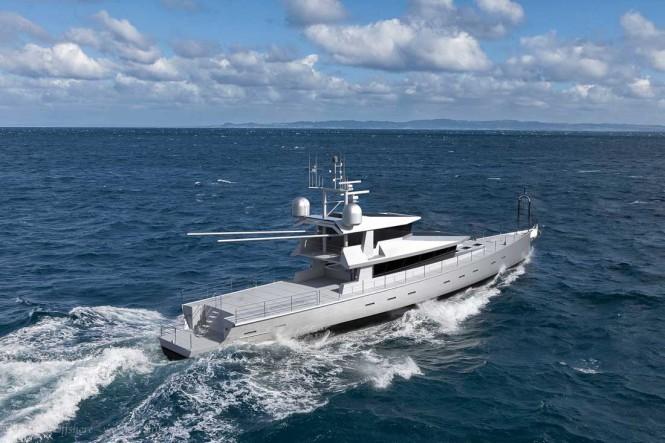 FPB 130 yacht design - aft view